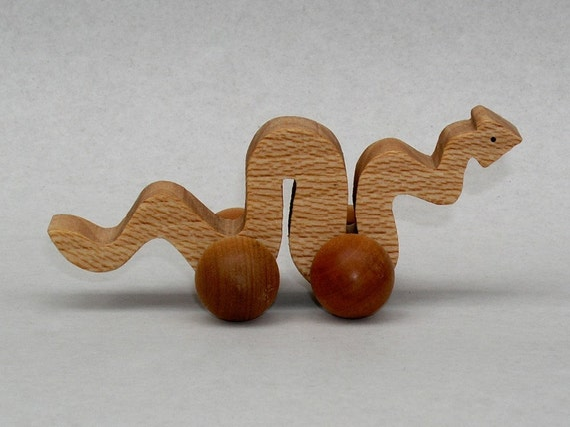 Anaconda Toy on Wheels Wooden Snake Reptile for Children