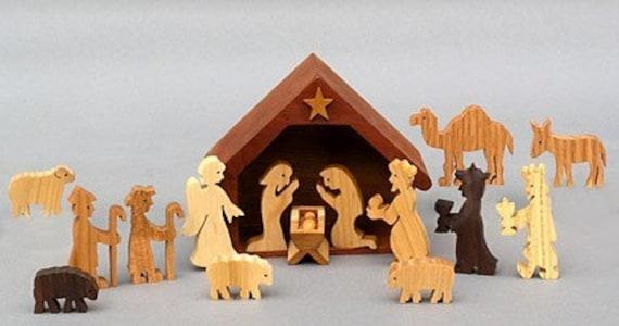 Wooden Nativity Set Christmas Creche Christmas Decoration   Etsy