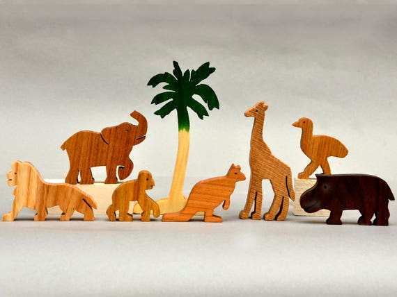Safari Toys For Boys : Zoo animal play set wooden blocks toys for kids boys girls etsy