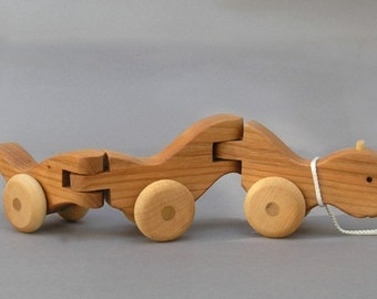 Wiggle Worm Pull Toy Wooden Toys Wooden Animal on Wheels  Boys Girls Kids Baby Shower Gift Wood Toy for Teathing Waldorf Montessori Wood Toy