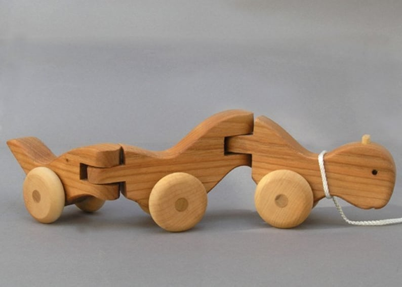 Wiggle Worm Pull Toy Wooden Toys Wooden Animal on Wheels  Boys image 0