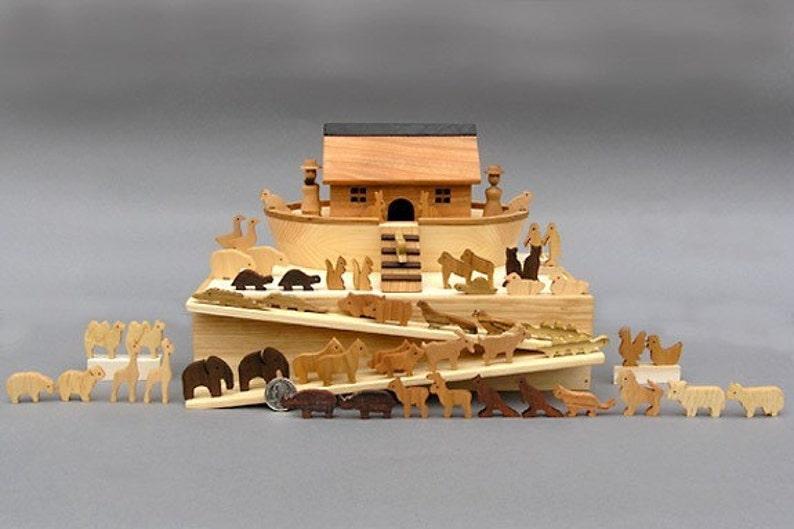 Miniature Noah's Ark with  60 Animals Wooden Noahs Ark image 0