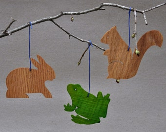 Backyard Animal Ornaments Wooden Decorations Cutouts Stencils Mobiles Party Favors Gifttags Rabbit Frog Squirres Wood  Children's Room