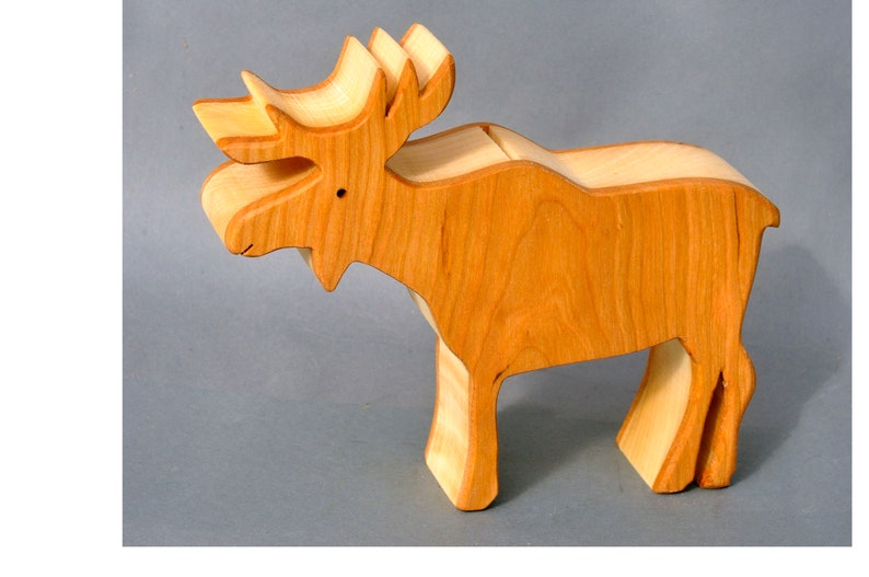 Moose Coin Piggy Bank Savings Bank for Children Wooden Animal image 0