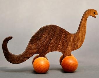 Brontosaurus Toy with Wheels Wooden Dinosaur Block Animal Kids Party Favors Bronto Children Boys Girl Toddlers nontoxic Waldorf Gift Present