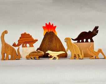 Dinosaur Animal Play Set  Wooden Block Toys for Children Kids Toddlers Girls Boys T Rex Brontosaurus Tricera Birthday Gift Stocking stuffers