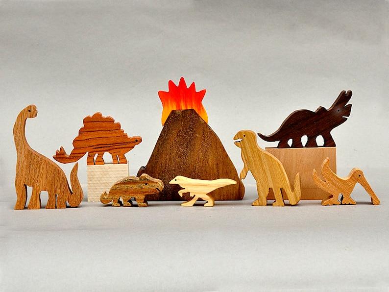 Dinosaur Animal Play Set  Wooden Block Toys for Children Kids image 0