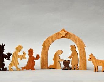 Nativity boxed Play Set Nativity Figures Mary Joseph Crib Jesus Baby Three Wise Men Kings Christmas Present Wooden Creche Religious Play