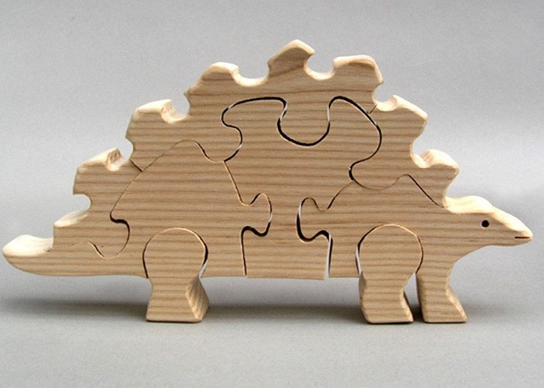 Wooden Stegosaurus Puzzle Organic Dinosaurs for Kids Boys and image 0