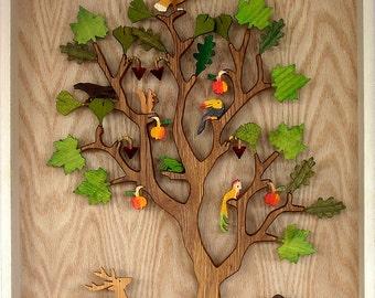 Tree of Life, oak tree, animals, fruits, leafs, symbol for food, sustenance, paradise, Ygdrasil, Cassia, Bo Tree