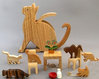 Kitten Caboodle, wooden handcrafted gift for cat lovers, children, boys, girls, Kids Collectible Wood Toy, Waldorf Montessori Toy Miniature