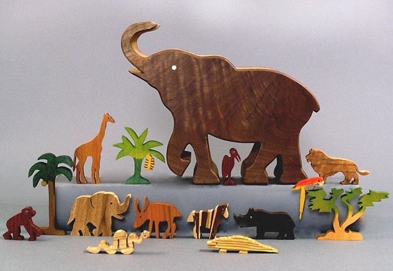 Elephant Story Box Wooden Toy African Zoo Animals Waldorf image 0