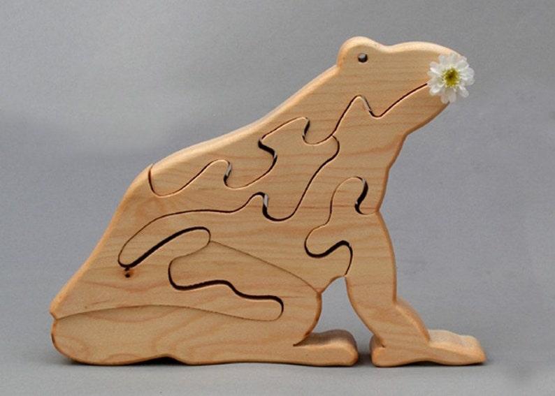 Frog Wooden Animal Puzzle Handmade Waldorf Toy for Toddlers image 0