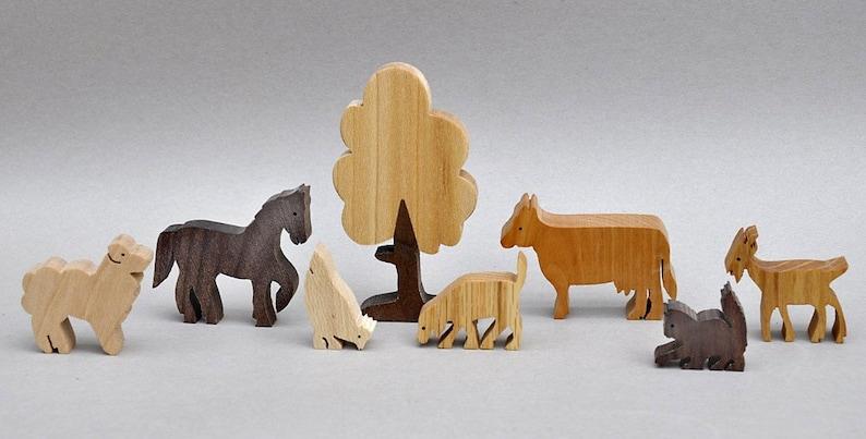 Farm Animal Play Set Wooden Block Toys for Children Kids image 0