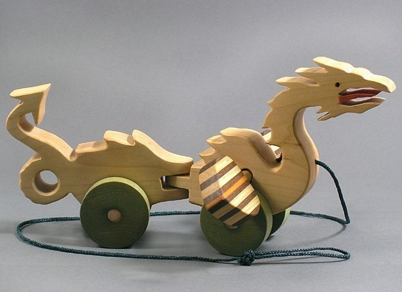 Dragon Pull Toy Animated Wooden Toy for Toddlers  Kids Girls image 0