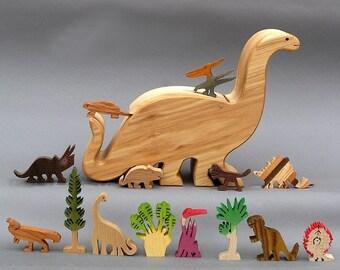 Dinosaur Story Box   Wooden Toy for Jurassic Park Kid Organic  Waldorf Brontosaurusgift for kids, boys and girls Nontoxic Wood Birthday Gift