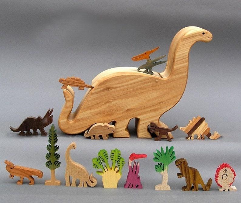 Dinosaur Story Box   Wooden Toy for Jurassic Park Kid Organic image 1