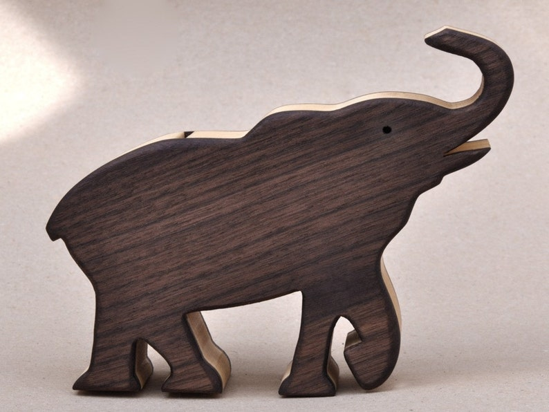 Elephant Piggy Bank Wooden Waldorf Toy for a Child  Animal image 0