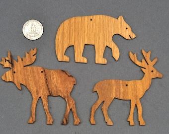 Choose 10 wooden Ornaments Cutouts, Bear Moose Deer Squirrel Rabbit  Buffalo Fox Wolf, Owl, Cardinal, Humming Bird Frog, Wren Cat Dog, wood