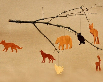 7 Wooden Animal Ornaments Mobiles Woodland Tags Moose Bear Deer Fox Wolf Turkey Owl Christmas Tree Decoration Wilderness Cutouts Crafts