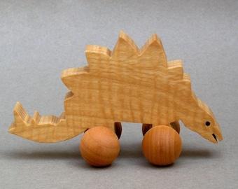 Stegosaurus Toy with Wheels Wooden Stego Dinosaur for Children  Animal Party Favor for Kids