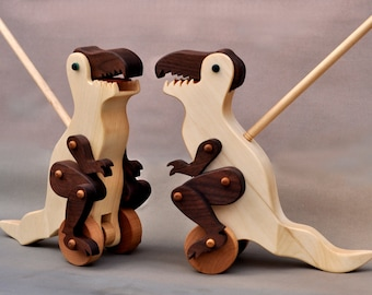 Tyrannosaurus Rex Push Toy Wooden Toy Tyrannosaurus Rex Push Toy Wooden Toy wooden Dinosaur Toy for Kids Wood Toy Toddlers Boys Girls T-Rex