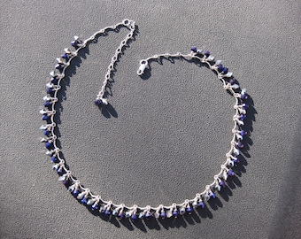 Purple Italian glass  Crystals on Sterling Silver Necklace