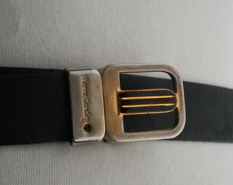 Vintage Belt / Pierre Cardin leather and metal designer belt / black with gold tone buckle