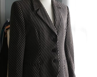 Vintage GIORGIO ARMANI Blazer / 80s Striped Fabric / Black and Gray Jacket / 8