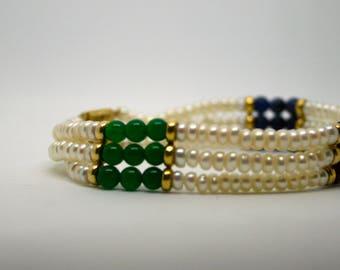 Vintage Bracelet / Elegant Pearl Bracelet / Emerald Sapphire Amethyst Triple Strand Bracelet / Delicate Gold and Jewel Tone Beaded Jewelry