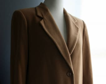 Vintage Blazer / 90s Minimalist Khaki Fabric Cashmere Wool Jacket / Lord and Taylor /Petite Medium