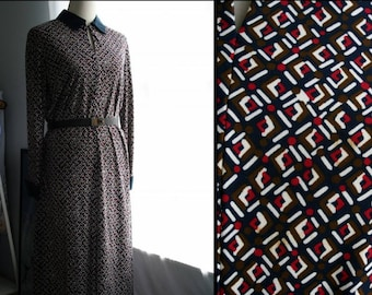 Vintage Dress / 60's Saks Fifth Avenue Mod Retro Dress / Navy blue, white, red, olive green Day Dress