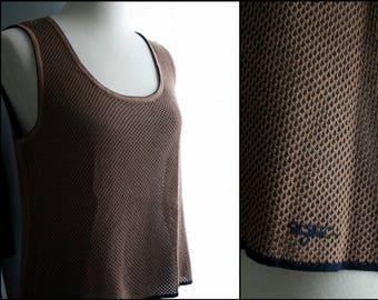 Vintage Tank Top / 90s Minimalist St. John Sport Marie Gray Silk Mesh Sweater Vest / Navy Blue and Brown / Large / Vintage Clothing