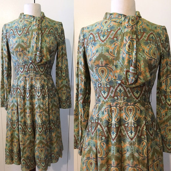 60s brocade dress, mod psychedelic paisley, XS S