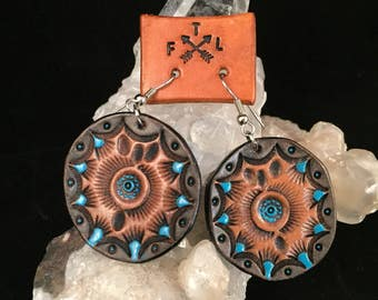 Handmade Tooled Leather  Earrings