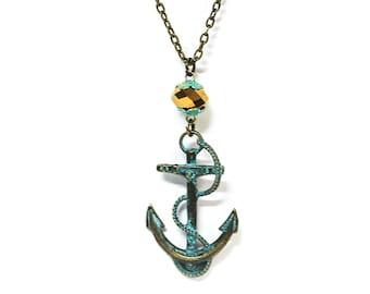 Verdigris Anchor and Gold Crystal Bead Charm Pendant Necklace
