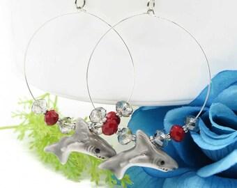 Great White Shark Czech Crystal Hoop Earrings