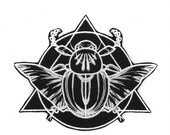 Mystique Scarab Beetle Large Black and White Iron On Embroidered Patch