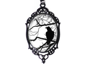 "Black & White Raven and Tree Cameo Necklace with Black Filigree Frame on 18"" Chain"