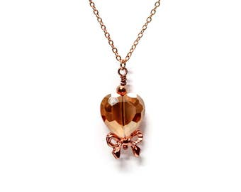 Crystal Heart Rose Gold Necklace with Bow