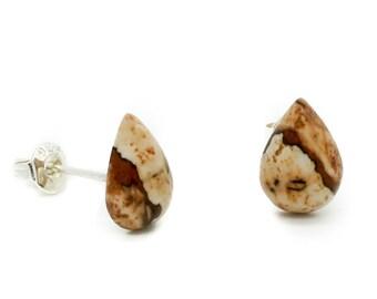 Picture Jasper Teardrop Sterling Silver Post Earrings