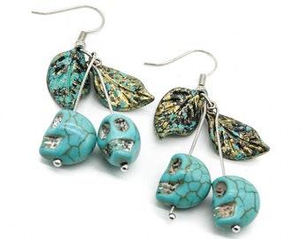 Turquoise Howlite Skull Cherry Earrings