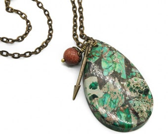 "Green Jasper and Goldstone Pendant Necklace with Arrow Charm on  18"" Brass Chain"