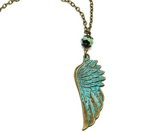 Verdigris Brass Angel Wing Necklace with Czech Crystal Bead