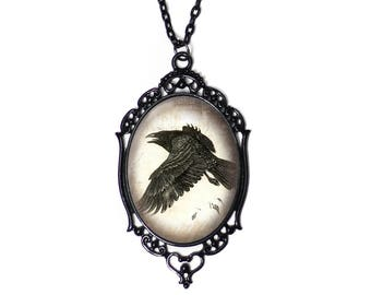 "Flying Raven Cameo Necklace with Black Filigree Frame on 18"" Chain"
