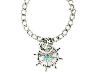 Anchor & Helm Silver Toned Charm Bracelet