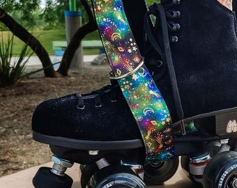 Thick Galaxy Holographic Foil Roller Skate Leash with D Rings - Adjustable - Yoga Mat Strap - Skateboard Sling