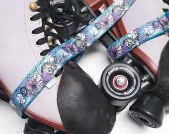 Ocean Seashells Teal  Roller Skate Leash with D Rings - Adjustable - Yoga Mat Strap - Skateboard Sling