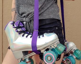 Dark Purple Skate Leash with D Rings - Adjustable -  Yoga Mat Strap - Skateboard Sling