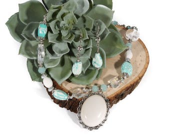 White Quartz Cameo with White Spotted Howlite Turquoise & Crystal Beaded Statement Necklace with Matching Earrings OOAK